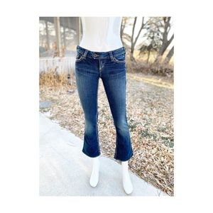 Silver Jeans Tuesday Low Rise Dark Wash Hemmed Y2K